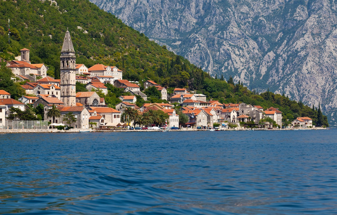 Photo wallpaper trees, mountains, rocks, shore, home, boats, Bay, Sunny, Montenegro, Kotor, Perast