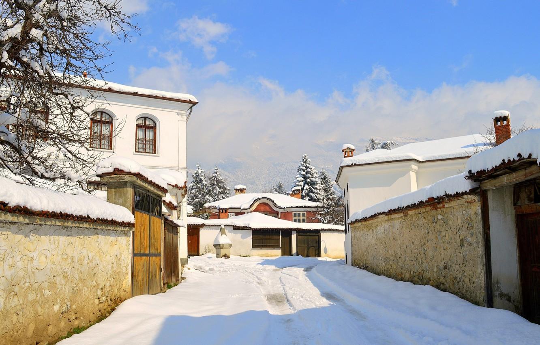 Photo wallpaper Home, Winter, Snow, Village, Frost, Winter, Frost, Snow, Village