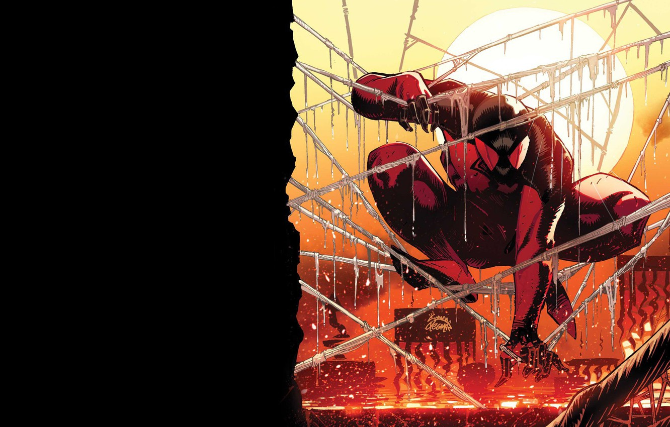 Photo wallpaper sunset, comic, spider man, Marvel Comics, Clone, Scarlet spider, Cain