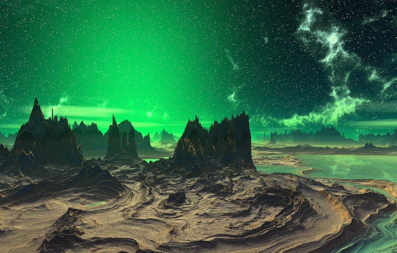 Photo wallpaper stars, lights, landscape