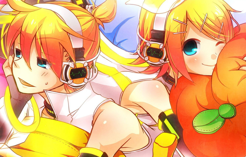 Photo wallpaper children, anime, art, two, Vocaloid, Vocaloid, Kagamine Len, Kagamine Rin