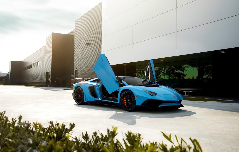 Photo wallpaper Lamborghini, Blue, Front, Aventador, Supercar, LP750-4