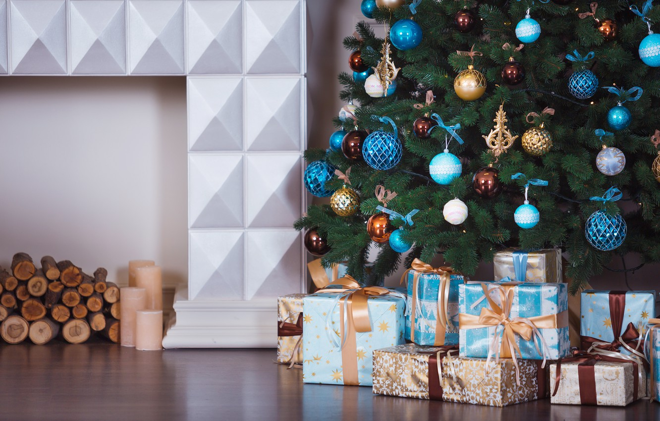 Photo wallpaper decoration, room, toys, tree, New Year, Christmas, gifts, white, Christmas, design, blue, Merry Christmas, Xmas, …