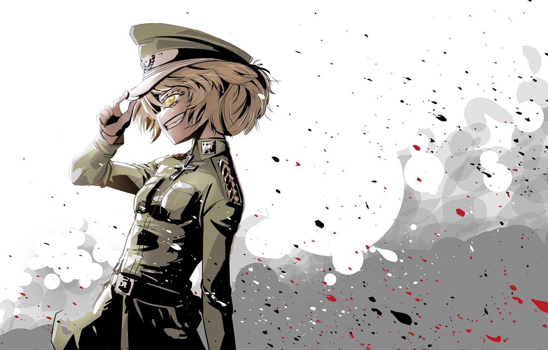 Photo wallpaper girl, soldier, military, war, smile, anime, cross, blonde, asian, manga, yellow eyes, oriental, asiatic, powerful, …