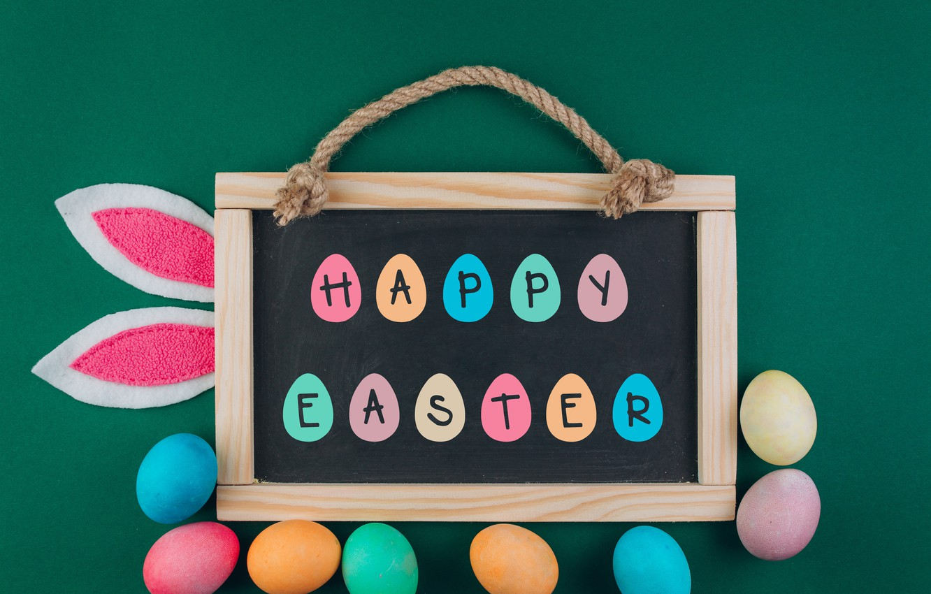 Photo wallpaper eggs, colorful, Easter, Board, wood, spring, Easter, eggs, decoration, Happy