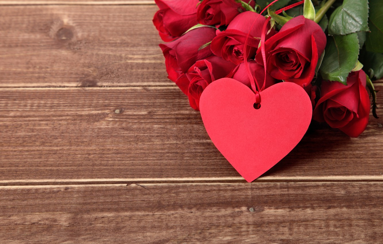 Photo wallpaper red, love, heart, wood, romantic, gift, roses, red roses, valentine`s day