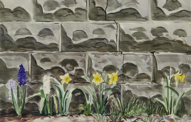 Photo wallpaper flowers, Charles Ephraim Burchfield, Flower Bed