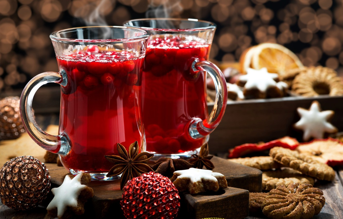 Photo wallpaper cookies, New year, drink, spices, Anis, mulled wine, cranberry