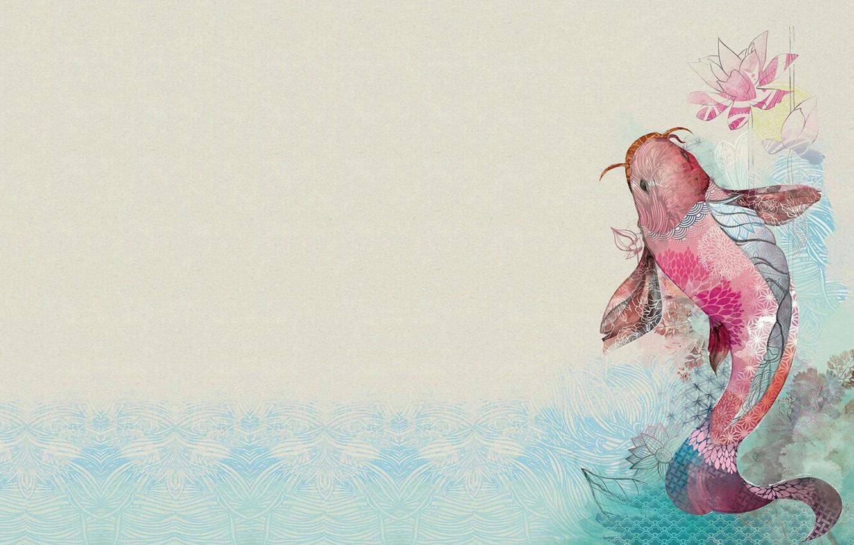 Wallpaper Fish Art Lotus Goldfish Fish Illustration