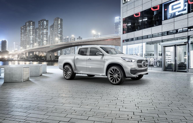 Photo wallpaper white, bridge, Mercedes-Benz, home, pickup, X-Class Concept