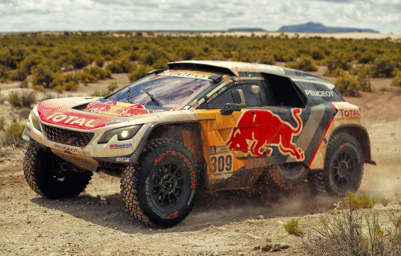Photo wallpaper Auto, Sport, Machine, Speed, Race, Peugeot, Red Bull, Rally, Dakar, Dakar, SUV, Rally, Sport, The …