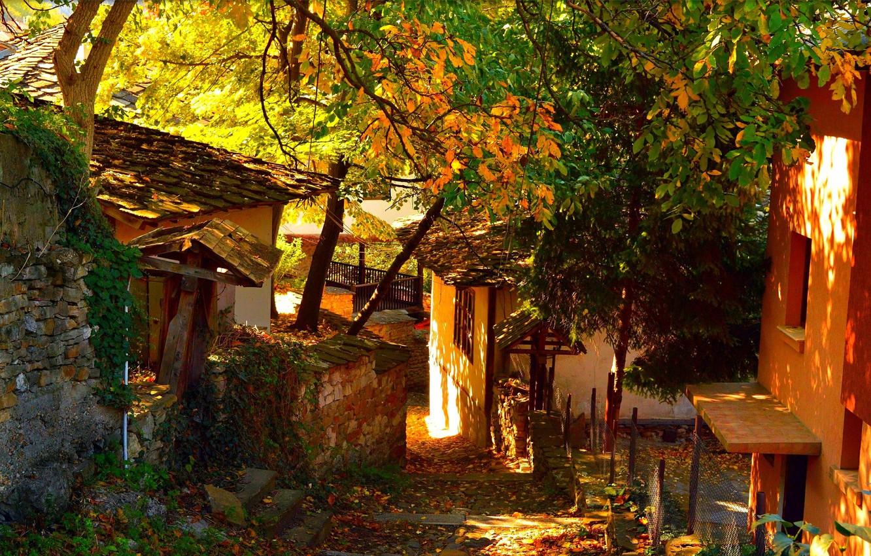 Photo wallpaper Home, Autumn, Village, Autumn, Village, Houses