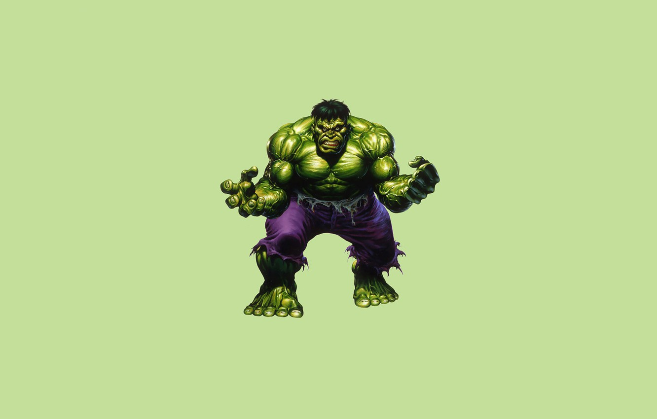Photo wallpaper monster, minimalism, green, Hulk, Hulk, comic, marvel, Marvel Comics
