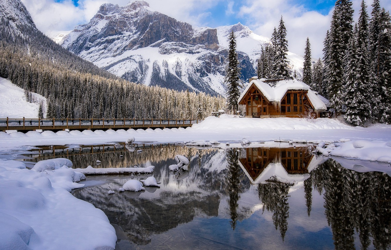 Photo wallpaper winter, snow, mountains, nature, Canada, house