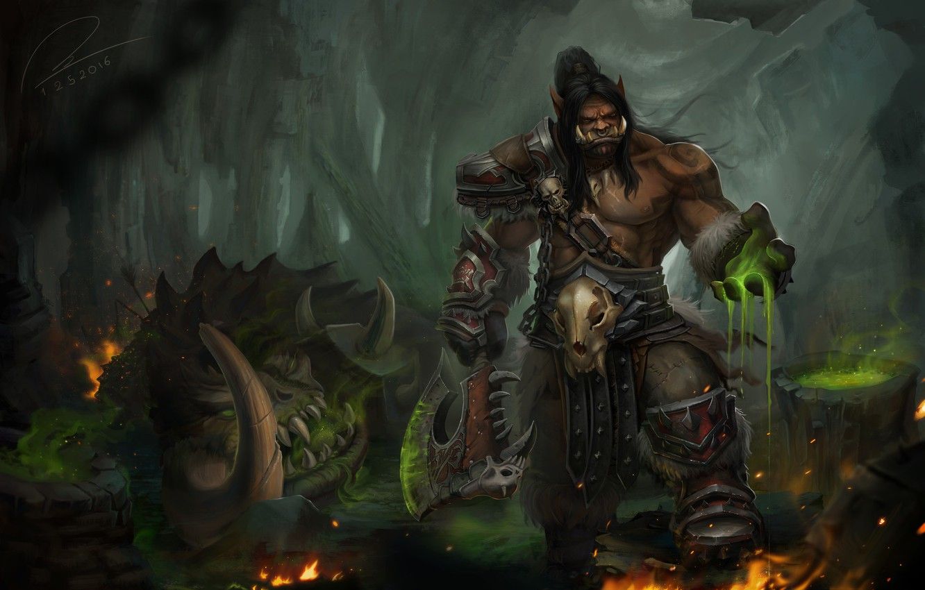 Photo wallpaper the game, fantasy, art, World of Warcraft, Orc, Grommash Hellscream, Tien Can