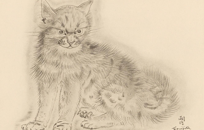 Photo wallpaper cat, grey, gloomy, 1930, Tsuguharu, Fujita, The Book Of Cats