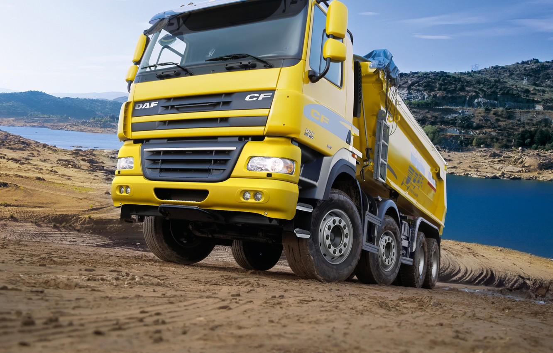 Photo wallpaper yellow, truck, body, primer, DAF, DAF, dump truck, Euro5, 8x4, DAF CF85.460