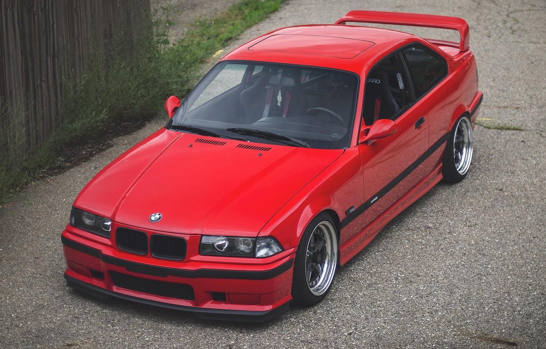 Photo wallpaper red, Bmw, custom, E36