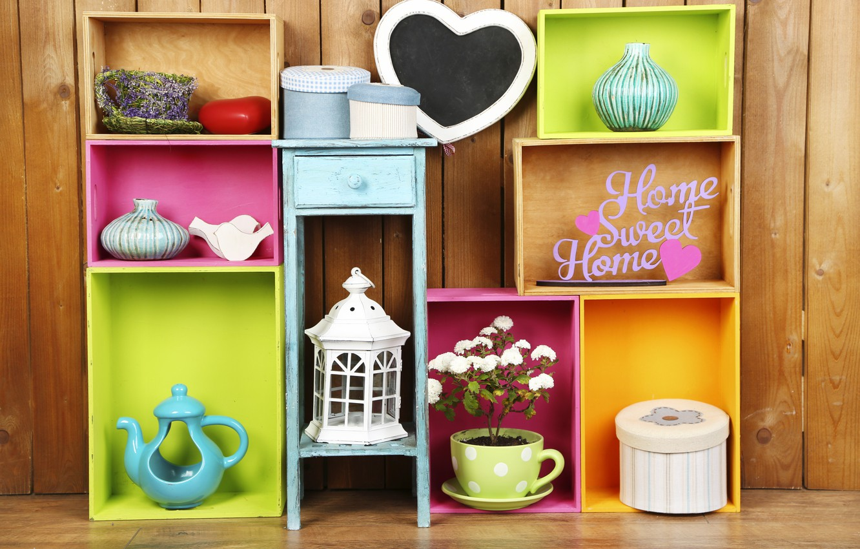Photo wallpaper flowers, colors, colorful, box, vase, design, flowers, interior, shelves, home, decoration, lantern