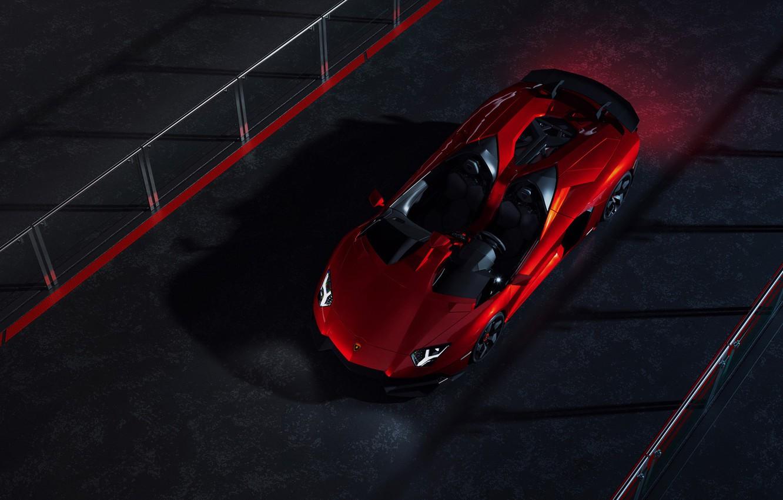 Photo wallpaper Lamborghini, Red, Front, Supercar, Aventador J