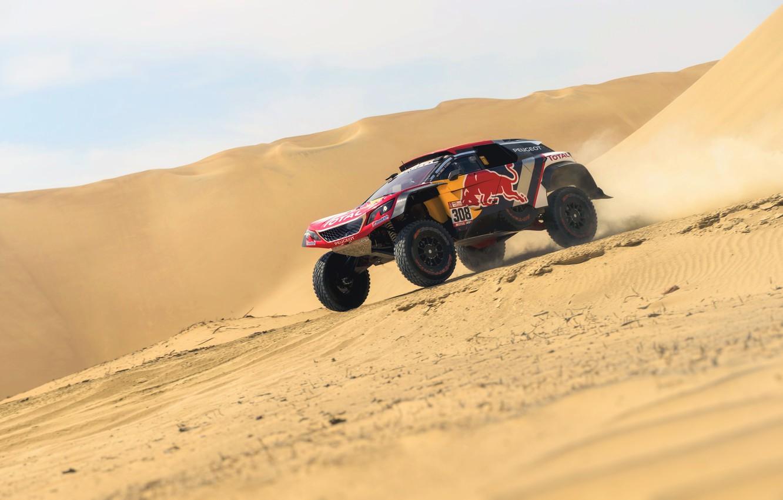 Photo wallpaper Sand, Auto, Sport, Machine, Speed, Peugeot, Red Bull, 308, Rally, Dakar, Dakar, SUV, Rally, Sport, …