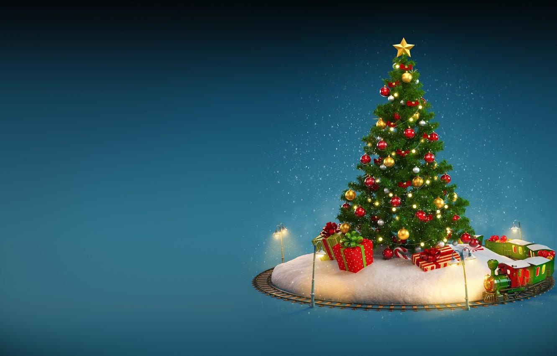 Photo wallpaper New Year, Christmas, winter, snow, merry christmas, decoration, christmas tree