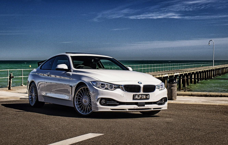 Photo wallpaper sea, beach, BMW, coupe, BMW, Coupe, F32, Alpina, 4-Series