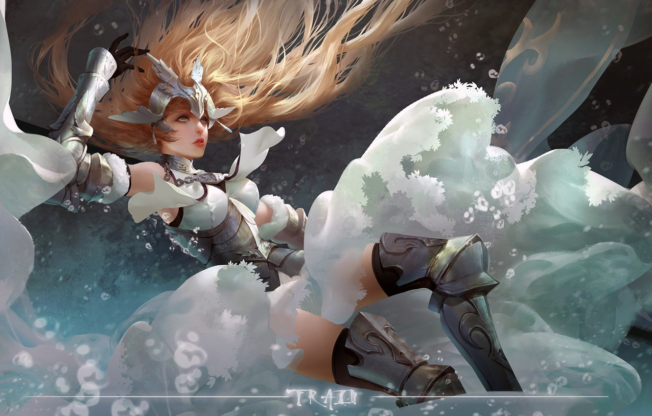 Photo wallpaper girl, fantasy, armor, long hair, anime, art, blue eyes, blonde, digital art, artwork, warrior, fantasy …