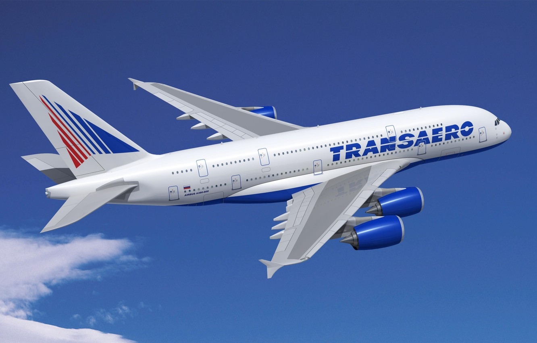 Photo wallpaper The sky, Flight, The plane, Airbus, Transaero, 380, A-380