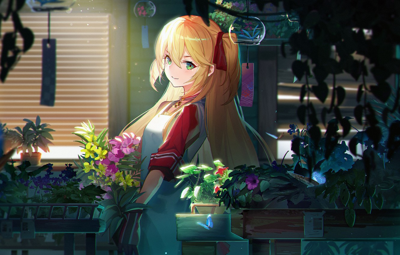 Photo wallpaper girl, flowers, anime, art, azur lane, admiral hipper
