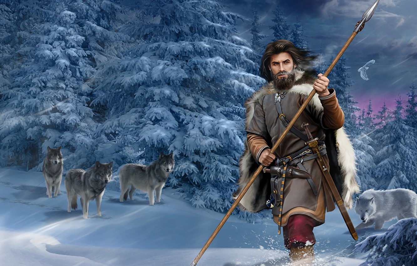 Photo wallpaper Forest, Spruce, Sword, Male, Wolves, Spear, Snow