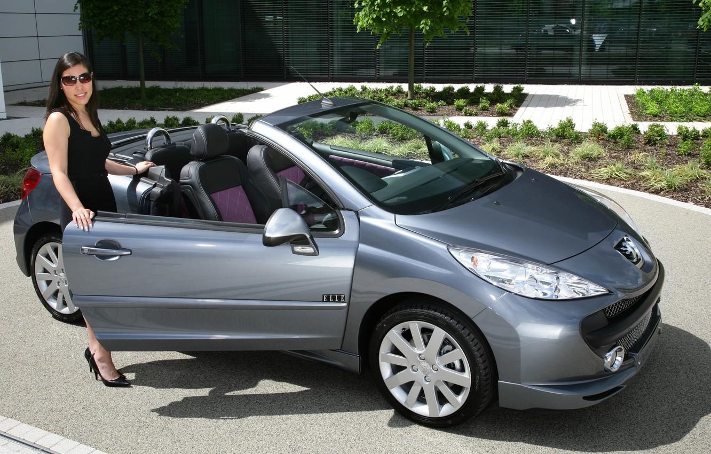 Photo wallpaper auto, look, girl, Girls, Peugeot 207