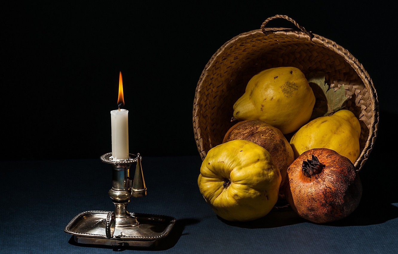 Photo wallpaper candle, fruit, still life
