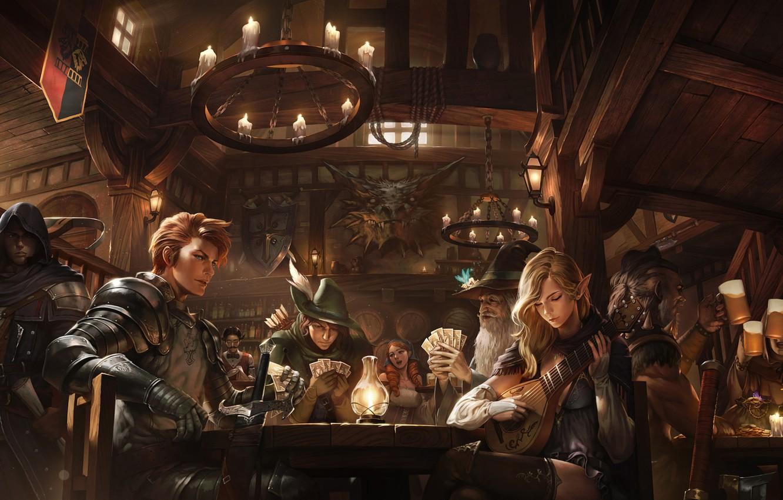 Photo wallpaper girl, sword, guitar, fantasy, armor, old, boy, beer, weapons, artwork, candles, table, warrior, wizard, fantasy …