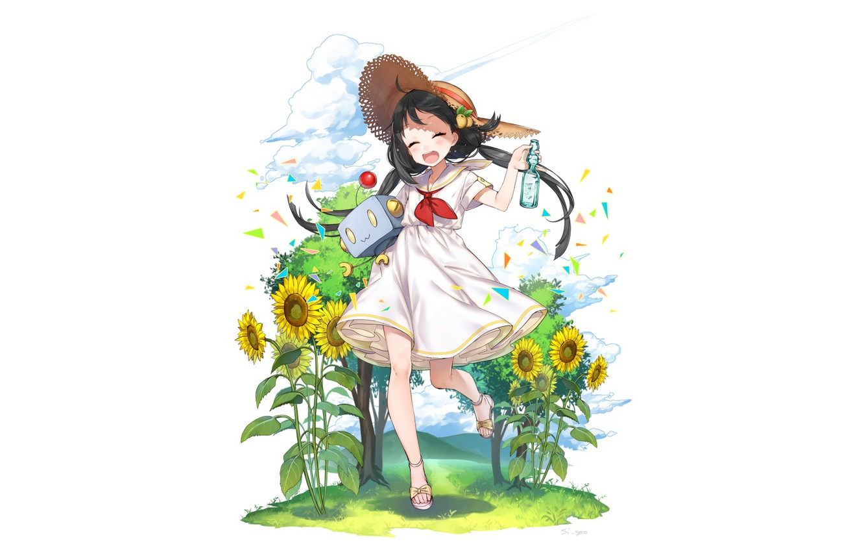 Photo wallpaper flowers, background, anime, girl
