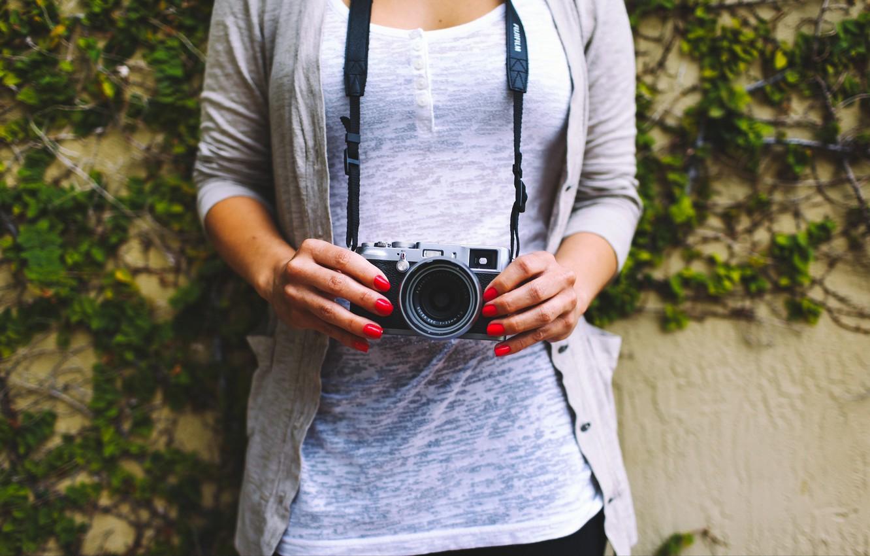 Photo wallpaper girl, camera, the camera