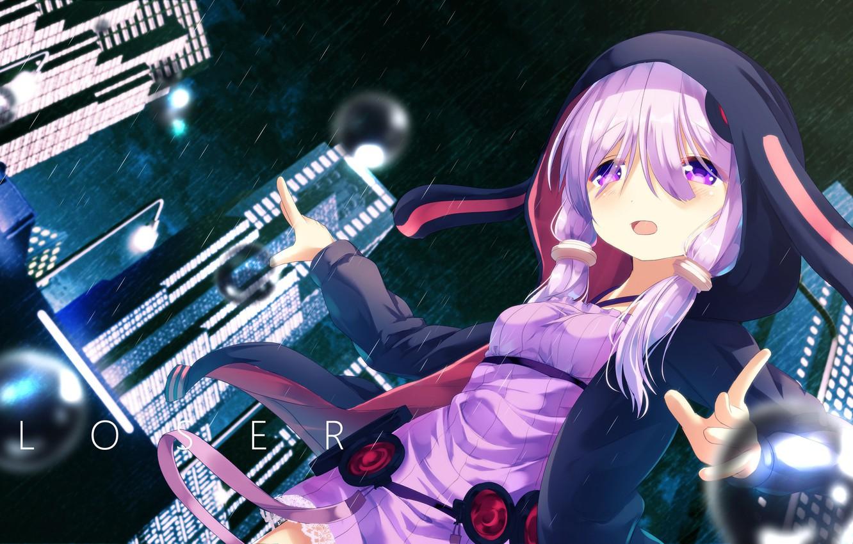 Photo wallpaper night, rain, anime, girl, vocaloid, yuzuki up, voiceroid