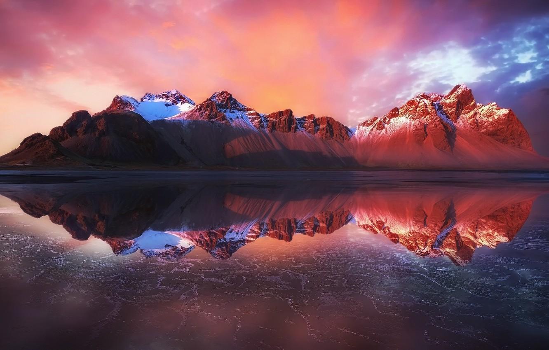 Photo wallpaper beach, reflection, mountains, Iceland