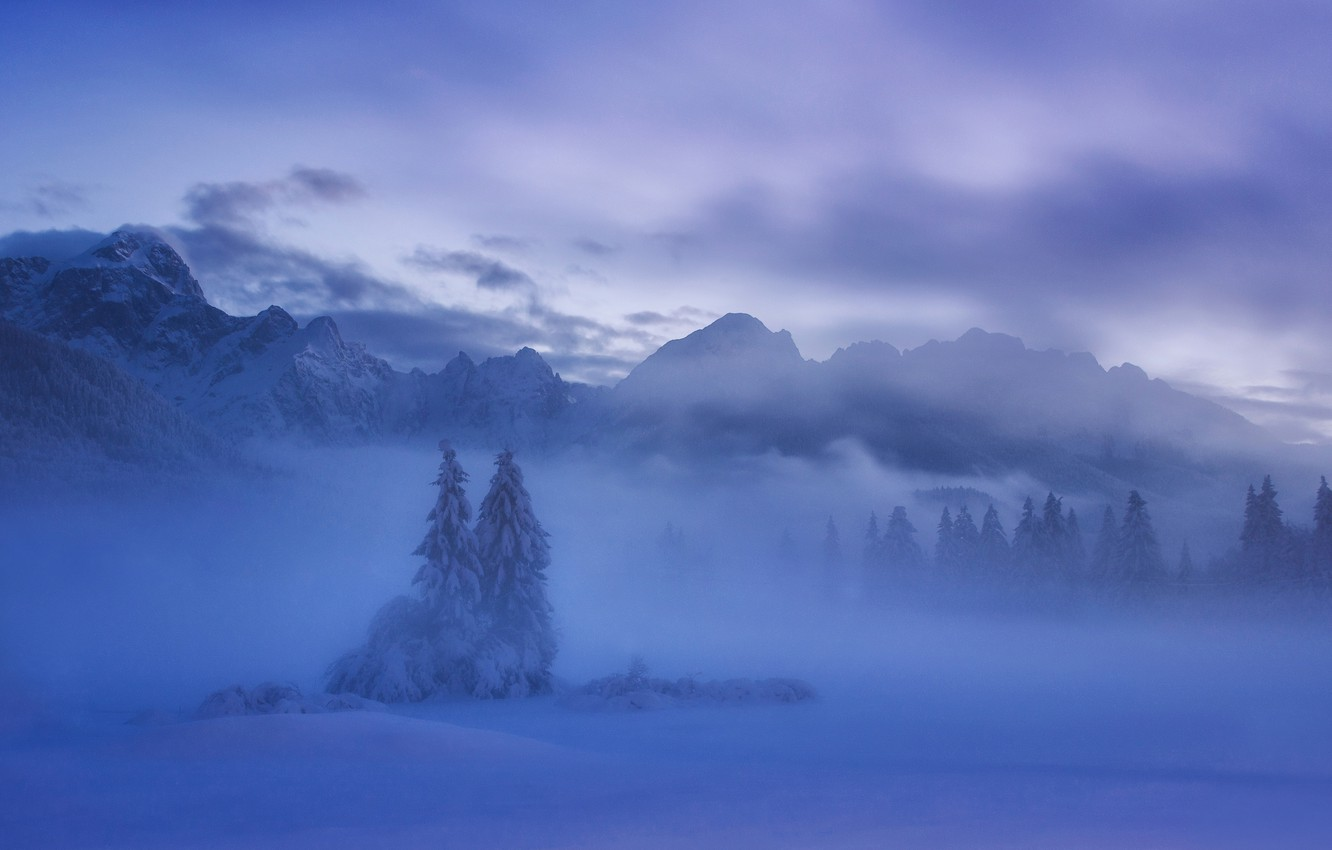 Photo wallpaper winter, snow, mountains, ate, Slovenia, Slovenia, The Julian Alps, Julian Alps