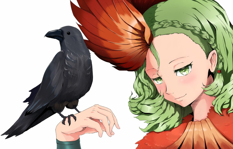 Photo wallpaper look, girl, bird, anime, art, Raven, Juuni-Based