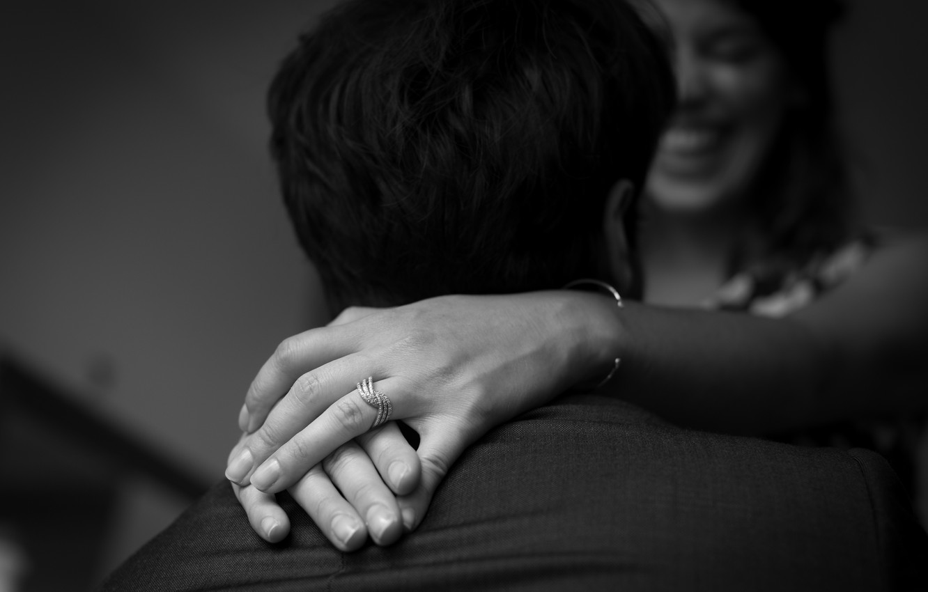 Photo wallpaper smile, ring, hands, black and white, lovers, engagement