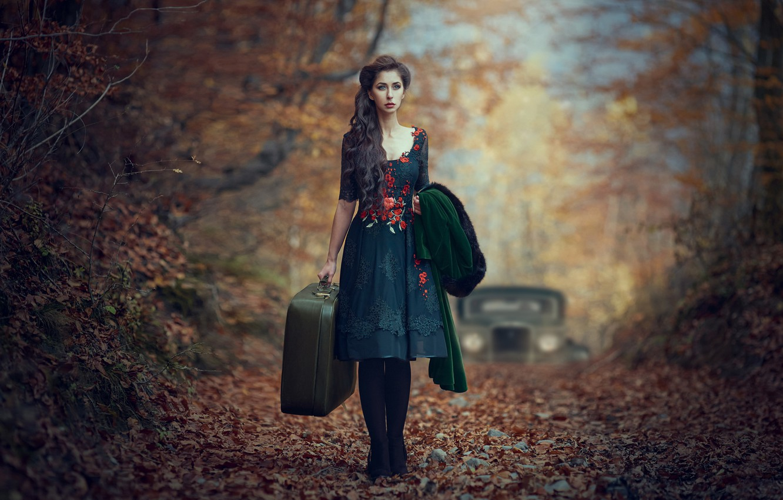 Photo wallpaper machine, auto, autumn, girl, mood, foliage, dress, suitcase, waiting, Monica Lazar