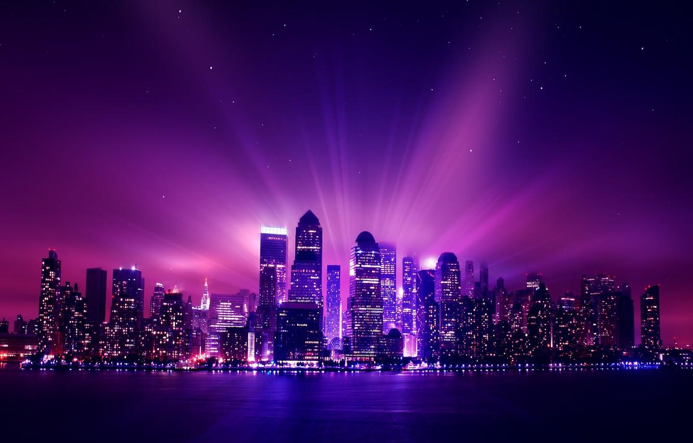 Photo wallpaper city, aurora, USA, night, new york, stars, purple, night city, city buildings, purple lights, light …