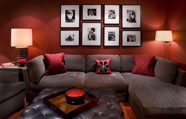 Photo wallpaper room, sofa, lamp, pillow, photos