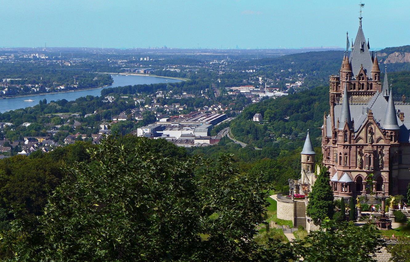 Photo wallpaper the city, river, castle, Germany, panorama, Germany, the Rhine river, North Rhine-Westphalia, North Rhine-Westphalia, Rhine ...