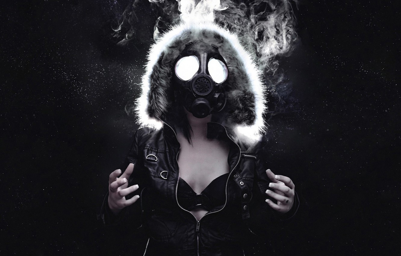 Photo wallpaper girl, space, stars, smoke, jacket, hood, gas mask