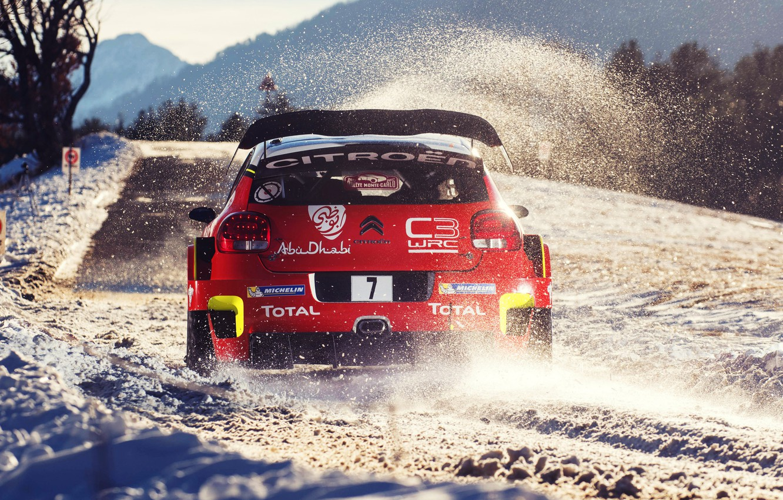 Photo wallpaper Red, Winter, Auto, Snow, Sport, Machine, Race, Citroen, Citroen, Car, WRC, Rally, Rally, Rallye Monte-Carlo, …
