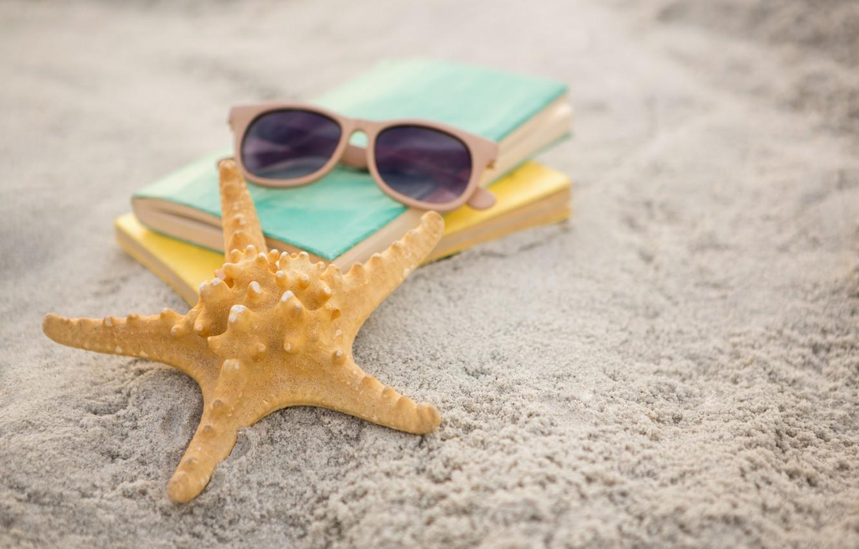 Photo wallpaper sand, sea, beach, summer, stay, star, glasses, book, summer, beach, vacation, sand, vacation, starfish, sunglasses