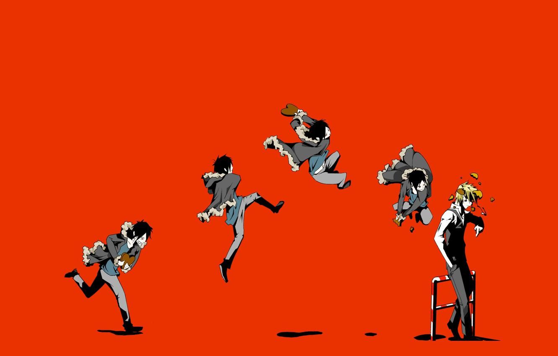Photo wallpaper the wreckage, jump, blow, art, bully, Heiwajima Shizuo, Durarara!!, hell of a grin, Orihara Izaya, …