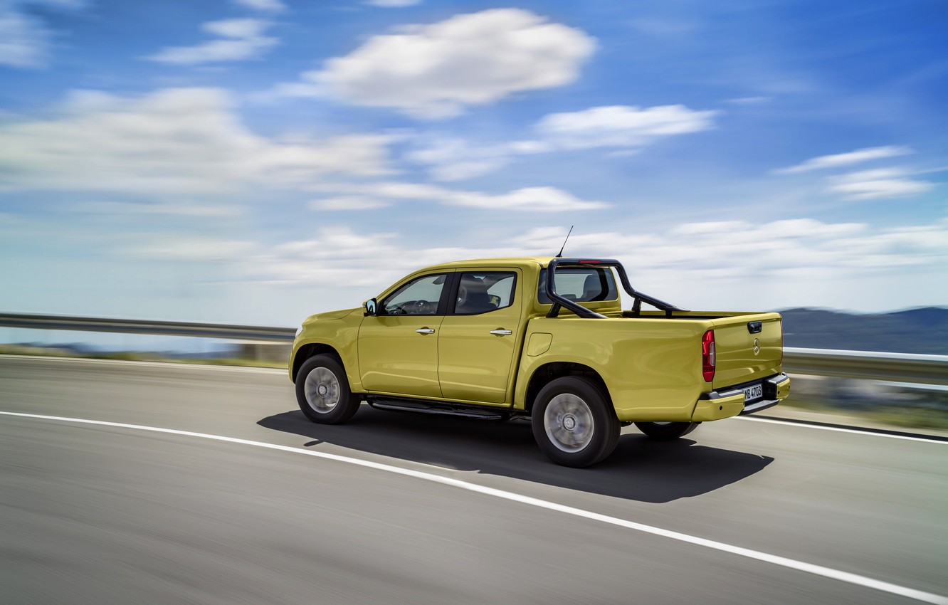 Photo wallpaper road, the sky, asphalt, clouds, yellow, movement, markup, Mercedes-Benz, the fence, pickup, 2017, X-Class